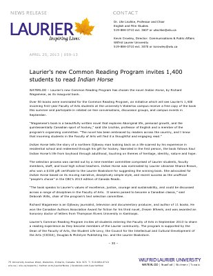 "59-2013 : Laurier's new Common Reading Program invites 1,400 students to read ""Indian Horse"""