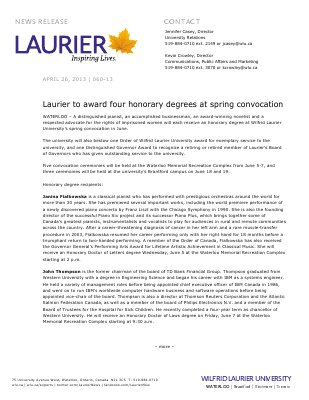 60-2013 : Laurier to award four honorary degrees at spring convocation