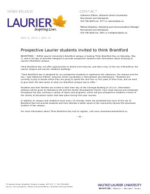 68-2013 : Prospective Laurier students invited to think Brantford