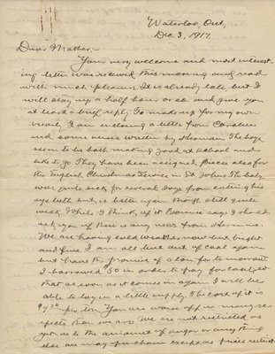 Letter from C. H. Little to Candace Little, December 3, 1917