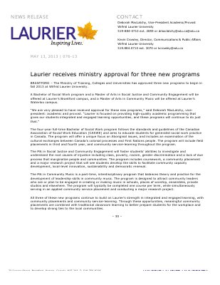 76-2013 : Laurier receives ministry approval for three new programs