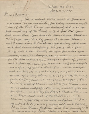Letter from C. H. Little to Candace Little, December 25, 1917