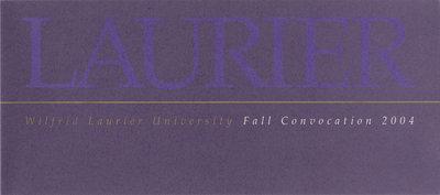 Wilfrid Laurier University fall convocation invitation, 2004