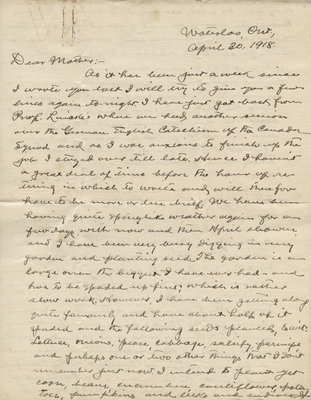 Letter from C. H. Little to Candace Little, April 20, 1918