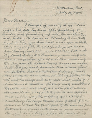 Letter from C. H. Little to Candace Little, July 16, 1918