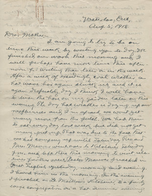Letter from C. H. Little to Candace Little, August 5, 1918