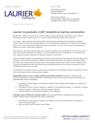85-2013 : Laurier to graduate 2,807 students at spring convocation