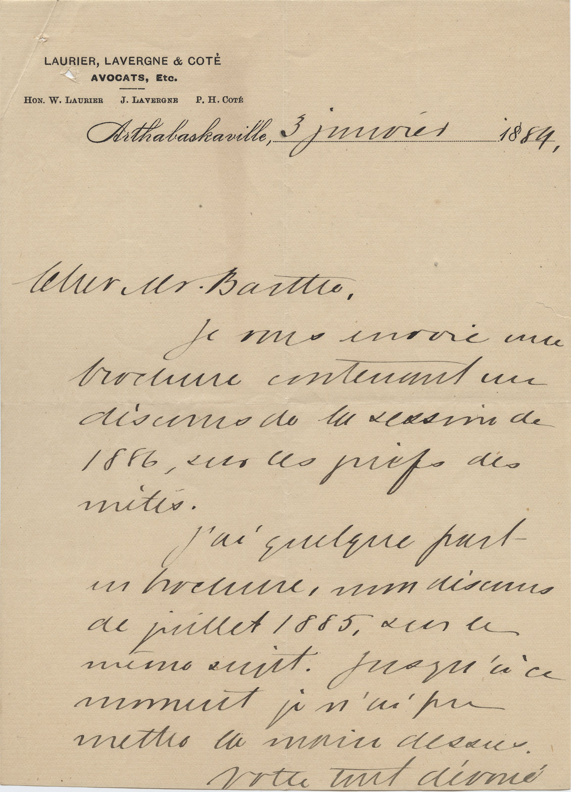Letter from Wilfrid Laurier to Ulric Barthe, January 3, 1889