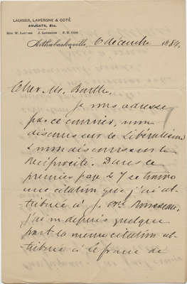 Letter from Wilfrid Laurier to Ulric Barthe, December 6, 1889