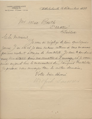 Letter from Wilfrid Laurier to Ulric Barthe, December 16, 1889