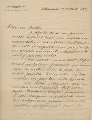 Letter from Wilfrid Laurier to Ulric Barthe, December 19, 1889