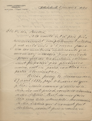 Letter from Wilfrid Laurier to Ulric Barthe, January 3, 1890