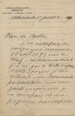 Letter from Wilfrid Laurier to Ulric Barthe, January 4, 1890