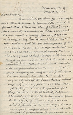 Letter from C. H. Little to Candace Little, March 3, 1919