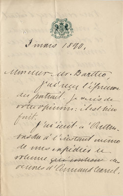 Letter from Wilfrid Laurier to Ulric Barthe, March 3, 1890