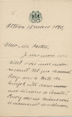 Letter from Wilfrid Laurier to Ulric Barthe, March 18, 1890