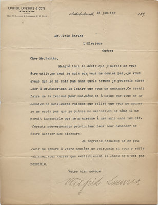 Letter from Wilfrid Laurier to Ulric Barthe, January 14, 1891