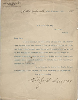 Letter from Wilfrid Laurier to F.R. Latchford, November 3, 1892