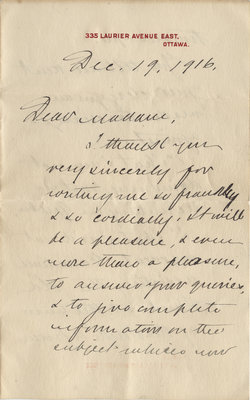 Letter from Wilfrid Laurier to Mrs. H. A. Sanderson, December 19, 1916