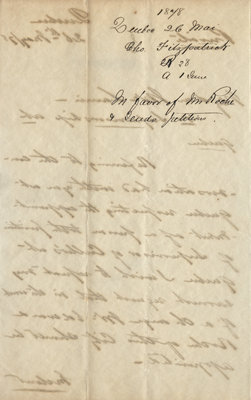 Letter from Charles Fitzpatrick to Wilfrid Laurier, May 26, 1878