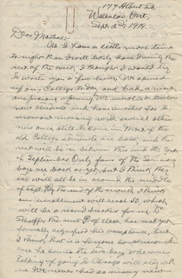 Letter from C. H. Little to Candace Little, September 2, 1919