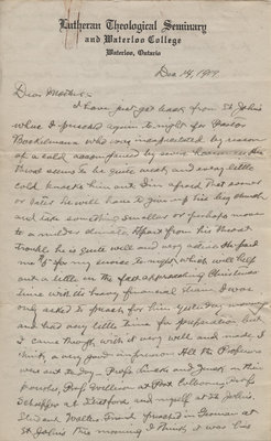 Letter from C.H. Little to Candace Little, December 14, 1919