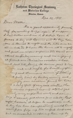 Letter from C. H. Little to Candace Little, December 21, 1919