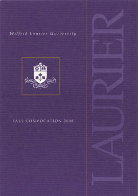 Wilfrid Laurier University fall convocation invitation, 2008