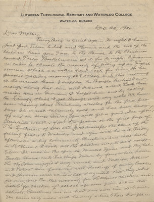 Letter from C. H. Little to Candace Little, December 26, 1920