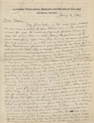 Letter from C. H. Little to Candace Little, January 2, 1921