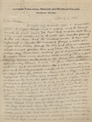 Letter from C. H. Little to Candace Little, January 9, 1921