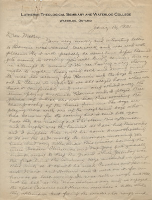 Letter from C. H. Little to Candace Little, January 16, 1921