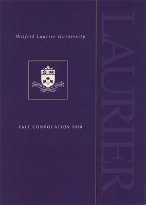 Wilfrid Laurier University fall convocation invitation, 2010