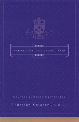 Wilfrid Laurier University Chancellor's Installation Dinner program, 2011