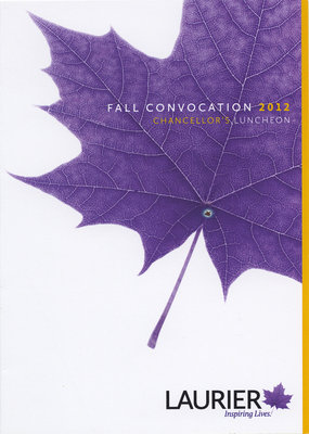 Wilfrid Laurier University fall convocation invitation, 2012