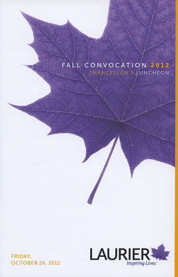 Wilfrid Laurier University Chancellor's Luncheon program, fall 2012