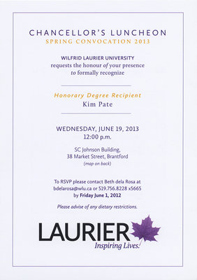 laurier brantford chancellor s luncheon invitation june 19 2013