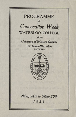 Programme of Convocation Week, Waterloo College, 1931