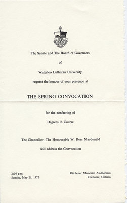 Waterloo Lutheran University convocation invitation, spring 1972