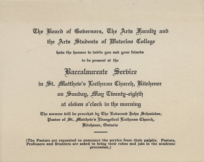 Waterloo College baccalaureate service invitation, 1933