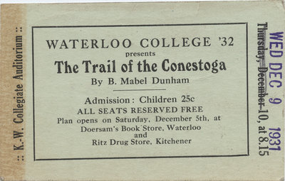 The Trail of the Conestoga ticket