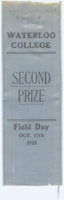 Second prize ribbon, 1923 Waterloo College Field Day