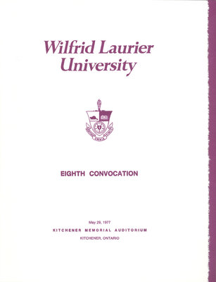 Wilfrid Laurier University spring convocation 1977 program