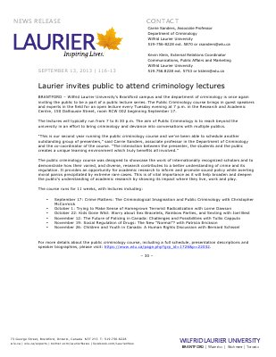116-2013 : Laurier invites public to attend criminology lectures