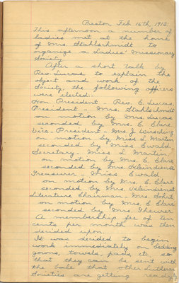 Minutes of the Ladies' Missionary Society of St. Peter's Evangelical Lutheran Church, February 16, 1912