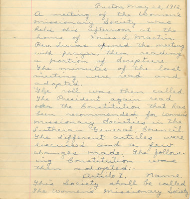 Minutes of the Women's Missionary Society of St. Peter's Evangelical Lutheran Church, May 22, 1912