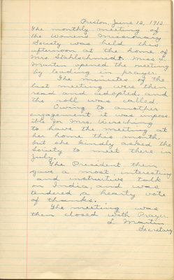 Minutes of the Women's Missionary Society of St. Peter's Evangelical Lutheran Church, June 12, 1912