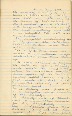 Minutes of the Women's Missionary Society of St. Peter's Evangelical Lutheran Church, August 28, 1912