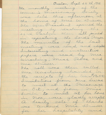 Minutes of the Women's Missionary Society of St. Peter's Evangelical Lutheran Church, September 25, 1912