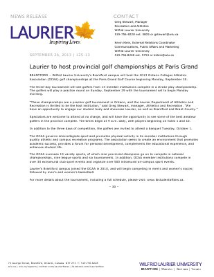 125-2013 : Laurier to host provincial golf championships at Paris Grand